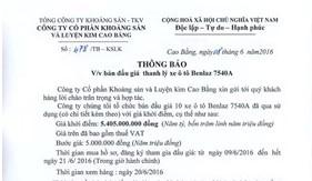 Thông báo về việc bán đấu giá thanh lý xe ô tô Benlaz 7540A