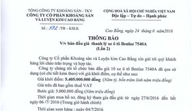 Thông báo về việc bán đấu giá thanh lý xe ô tô Benlaz 7540A (lần 2)