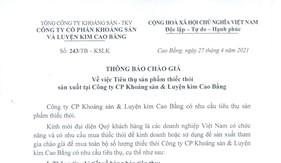 THÔNG BÁO CHÀO GIÁ: V/v Tiêu thụ sản phẩm thiếc thỏi sx tại Công ty cp KSLKCB